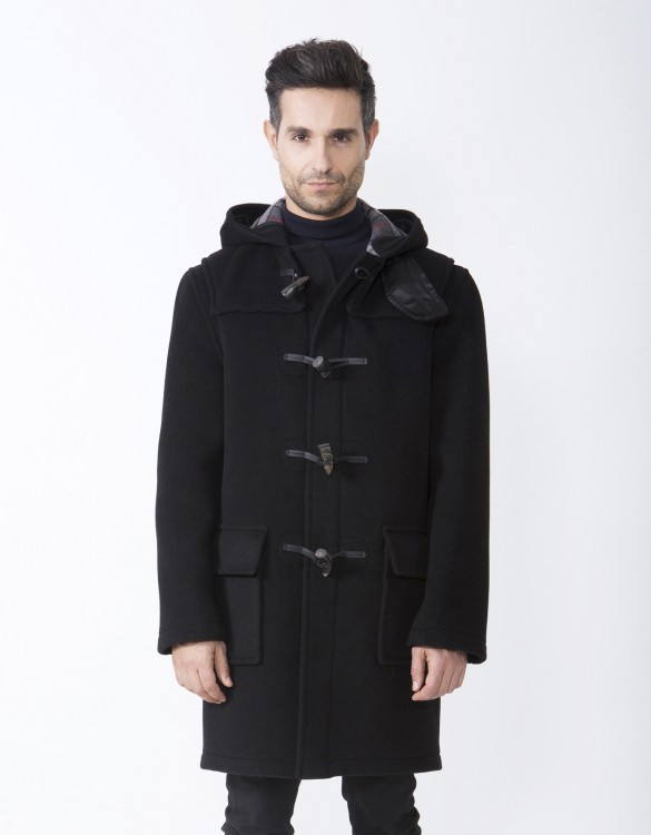 Black-Mens-Duffle-Coat-Martin-Front