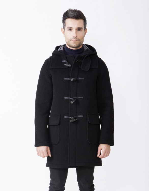 Black-Mens-Duffle-Coat-Martin-SLM-Long-Front