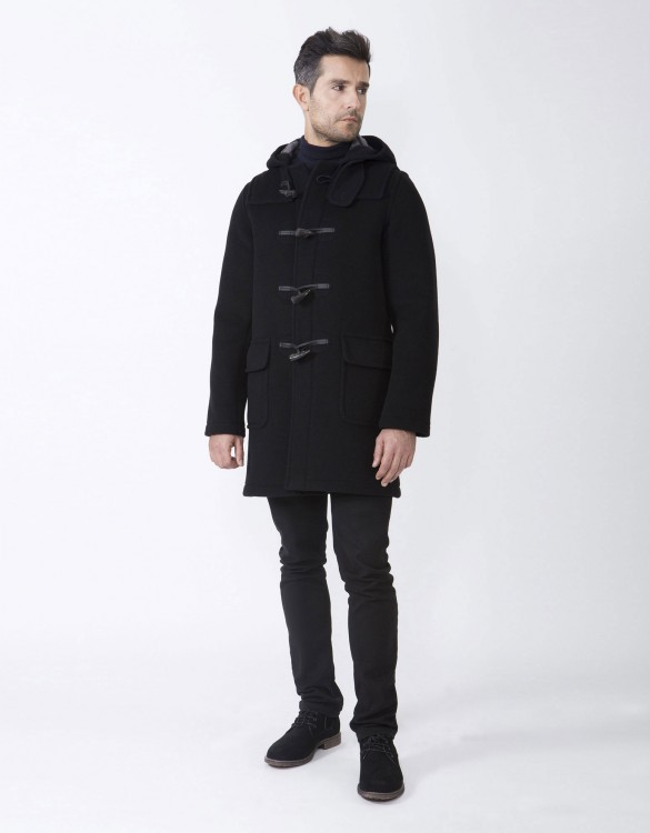 Black-Mens-Duffle-Coat-Martin-SLM-Long-Side