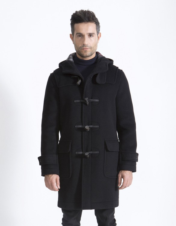 Black-Mens-Duffle-Coat-Mens-Classic-Front