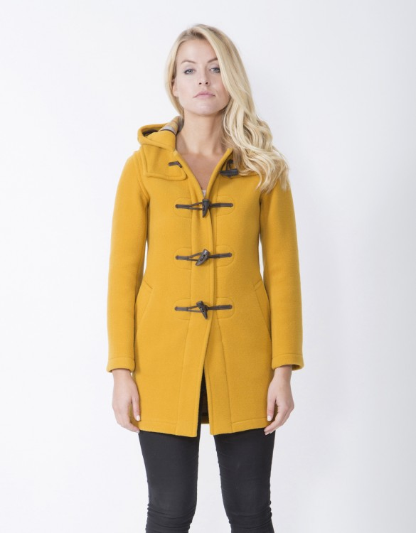 Mustard-Ladies-Duffle-Coat-Martina-Long-Welt-Front