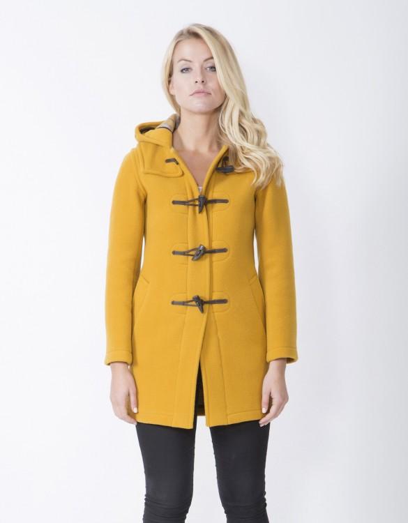 Mustard-Ladies-Duffle-Coat-Martina-Long-Welt-Front