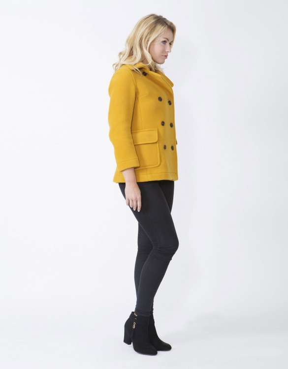 Mustard-Ladies-Peacoat-M7-Side